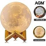 Lámpara Luna, AGM Luz de Luna, LED 3D Lampara de Luna Nocturna Grande 15cm Conexión...