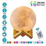 Lámpara de Luna 3D,16 Colores RGB Luz Nocturna Luna LED Lampara Luna Grande 15cm...