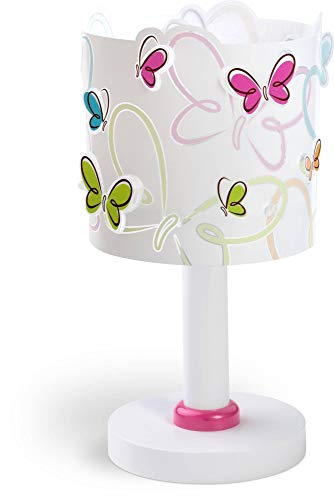 Dalber Lámpara de Mesilla Infantil Mariposas Butterfly E14, Multicolor