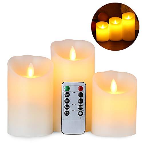 Gr4tec Lot de 3 Bougies à Led Eclairage Télécommande Minuteur Cire véritable...