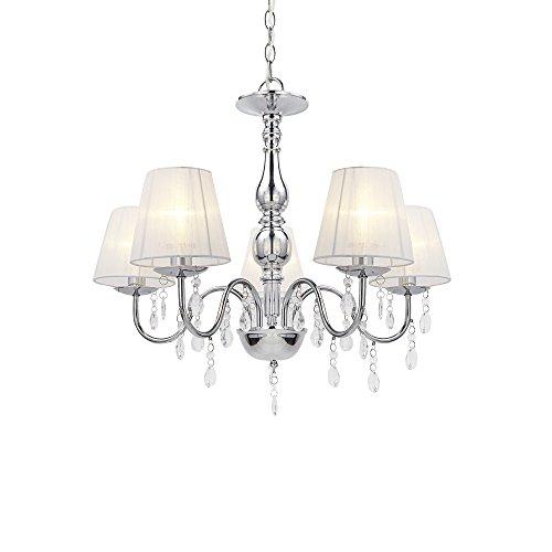 Lámpara de techo de araña de 5luces, cromada, de Lux.pro, de cristal, blanca,...