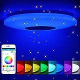 Lámpara de techo led regulable,altavoz RGB con Bluetooth,60W música para...