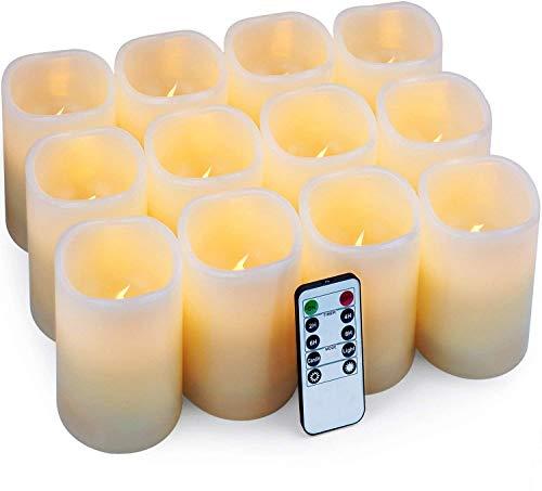 Hausware Velas eléctricas Velas Pilar Paquete de 12 Velas LED (D: 7.5cm X H: 10cm)...