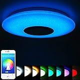 ELINKUME Lámpara de Techo Regulable Cambio de Color LED Lámpara con Altavoz...