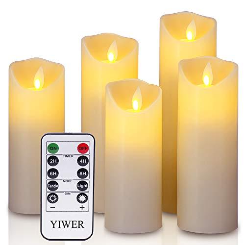 YIWER LED Velas sin Llama Φ 2.2 x H 5.5 '6'6.5'7'8'Juego de 5 Pilas de Cera Real no...