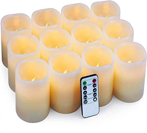 Velas eléctricas Velas pilar Paquete de 12 velas LED (D: 7.5cm X H: 10cm) Velas de...