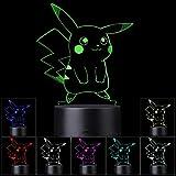 3D Illusion LED Night Light, 7 colores Interruptor táctil cambiante gradual Lámpara...
