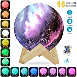 Lampara de Luna Colorida 3D, KOWTH Luz de Luna LED de 16 Colores con Soporte y...