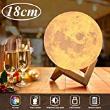 Lámpara Luna 3D, OxyLED 18cm Brillo Regulable 16 Colores RGB Recargable USB Control...
