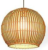 Popertr Lámpara tejida de madera Rattan Mimbre estilo japonés Bambú Pantalla...