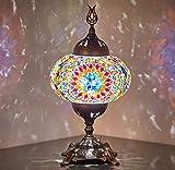 Lámpara de mesa con mosaico, funciona con pilas, con bombilla LED integrada, turco...
