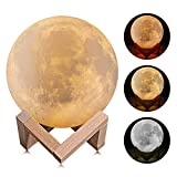 Lámpara de Luna Música 3D, Kowth Luz de Luna de 16 Colores con Soporte de Madera y...
