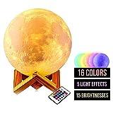 La lámpara Luna en 3D mide 15CM de diámetro (5,9�) Luna impresa en 3D recargable...