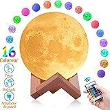 SOONAN Lámpara de Luna 3D con16 Colores,Luz Nocturna Luna LED Lampara Luna Grande 15...
