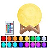 Lámpara Luna 3D,Tomshine 15cm Lámpara Mesilla de Noche,16 Colores y 4 Modos de...