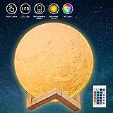 JORLAI Lámpara de Luna con Impresión 3D 16 Colores con Soporte de Madera Táctil y...