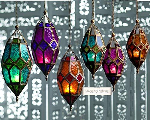 Klass Home Collection - Portavelas (Cristal, tamaño Grande), Color Verde y Dorado